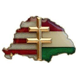 Nagy-Magyarország osztott Transzparens P-E-Z aranyozott kettőskereszt