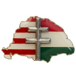 Nagy-Magyarország osztott P-F-Z ezüstözött antikolt kereszttel