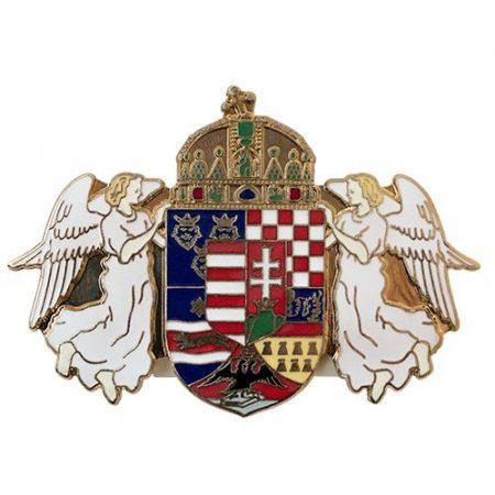 Angyalos Magyar Címer 36 x 51 mm-es Középcímerrel Tűzzománcozott
