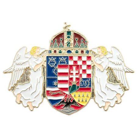 Angyalos Magyar Címer 36 x 51 mm-es Középcímerrel Festett