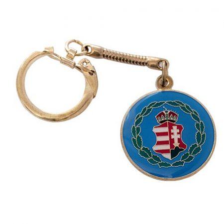 Monarchia címer kulcstartó sárgarezezett kék háttérrel