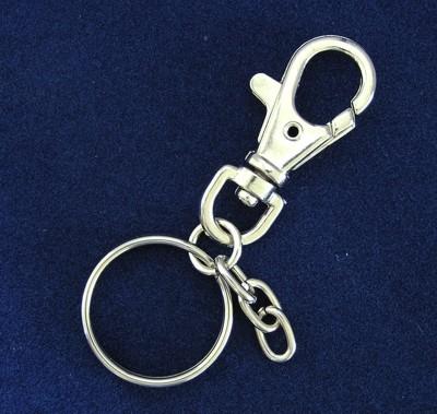 Karabíner forgóval, kulcskarikával nikkelezve
